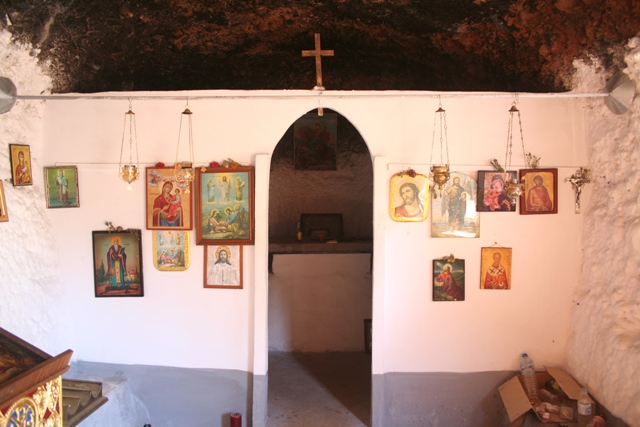 The decorated interior of the church built into the rock