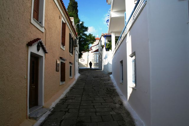 Old Village street leading up to Taxiarches church