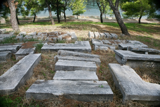 Excavated stone blocks of the Temple of Poseidon