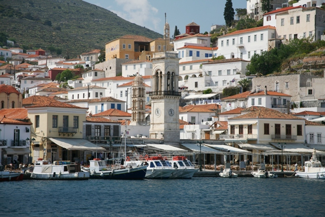 The clocktower is the focal point of Hydra town