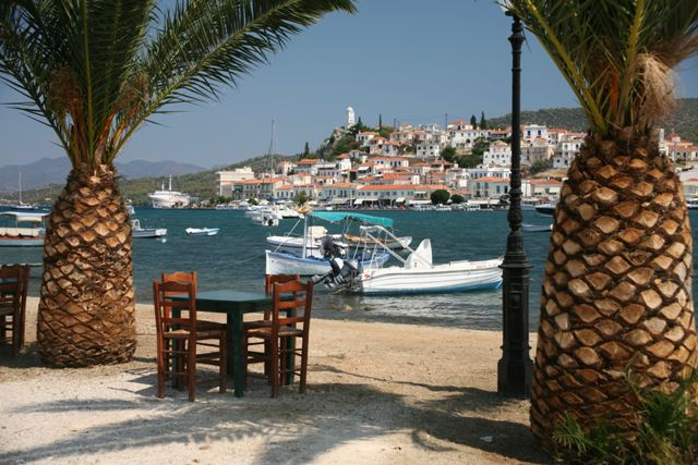 View of Poros from one of many waterfront cafes