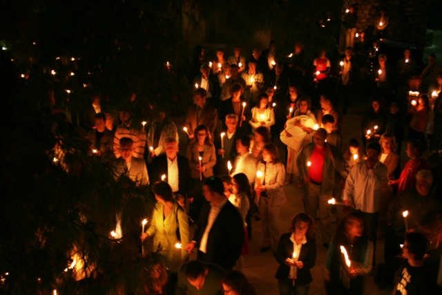 April 7 - Midnight Easter Saturday - 'Christos Anexi!' by candlelight