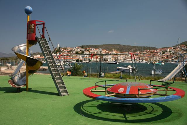 A children's play-area along the Galatas waterfront