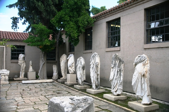 Roman statues on display in the inner courtyard of the museum