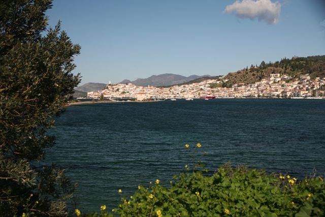 View of Poros town from the road to Ermioni
