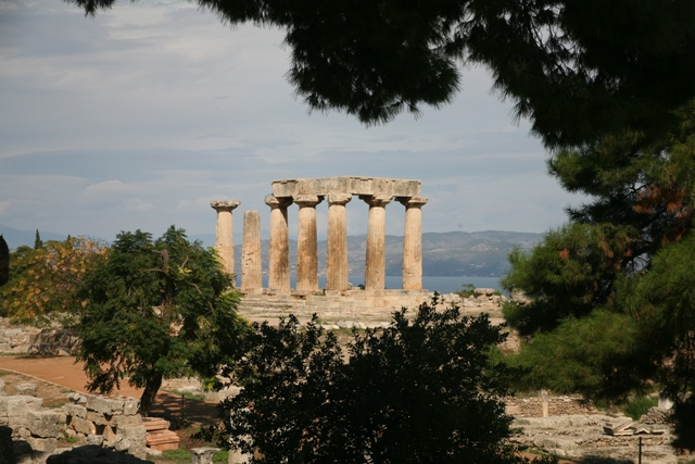Temple of Apollo with the gulf of Corinth in the background