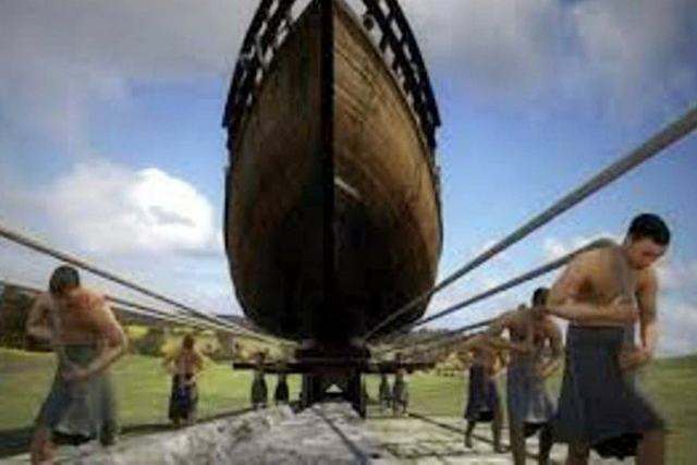 Ancient Diolkos - Reconstruction of the boat hauling