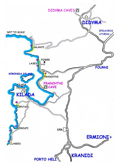 Directions to the Cave of Franchthi and Watchtower