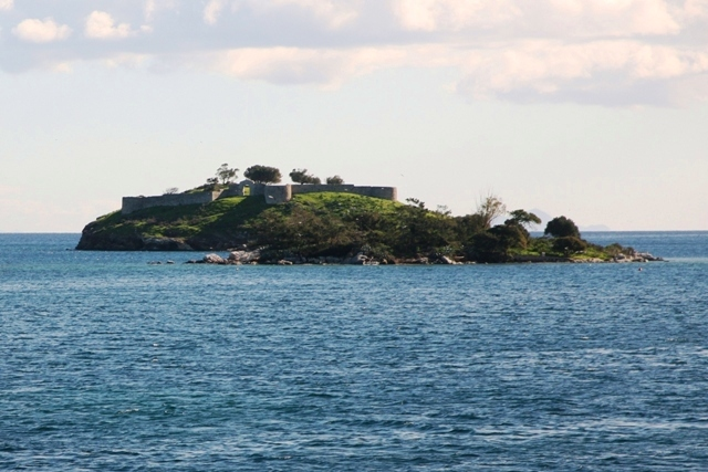 The bourtzi fortress on a small islet close to Galatas