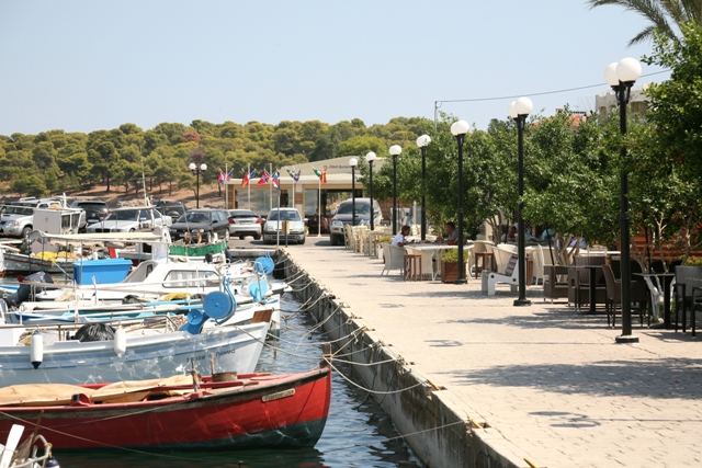 Central Limani waterfront with tavernas and cafes