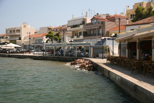 Eastern Limani waterfront with tavernas and bars