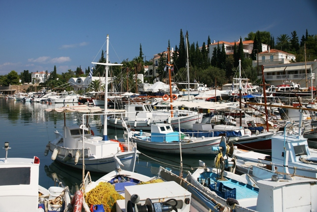 The Limani old harbour and boat-building yard in the background