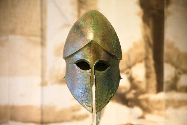 Corinthian style bronze helmet - now in the Nafplio museum