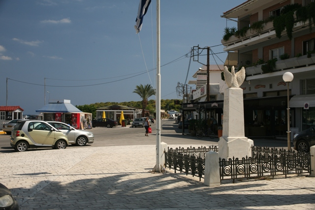 The war memorial looking towards the main street
