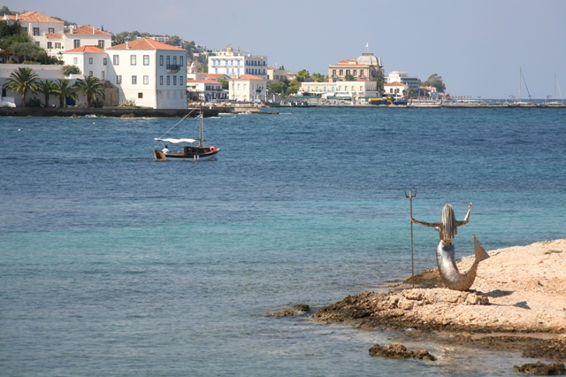 The silver mermaid at the park overlooking Aghios Nikolaos