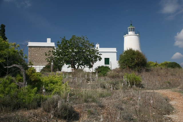 The lighthouse (pharos) at the end of the park peninsula