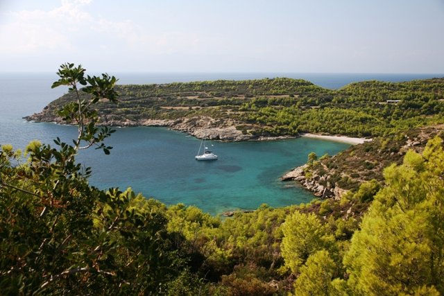 One of the many bays and beaches around the island