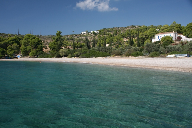 The beach of Aghioi Anargyri on the opposite side of the island