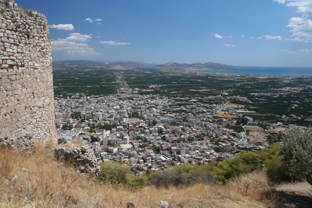 Argos: City view towards Nafplio from the castle of Larissa