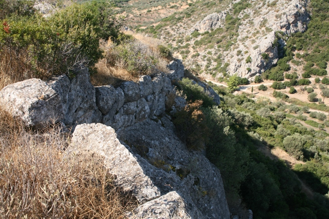 Sheer rock-face on the Northern side of the acropolis