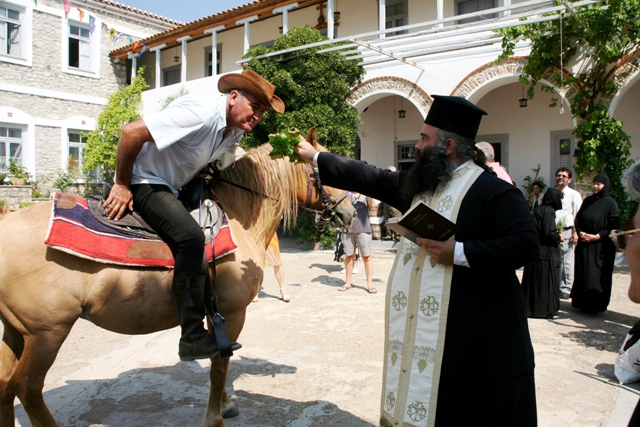 July 1 - Anargyroi festival - Man and horse are blessed
