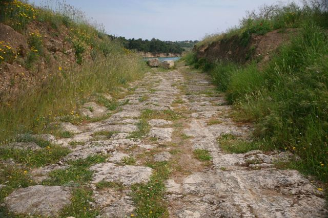 Ancient Diolkos - Paved boat-track alongside the Corinth Canal