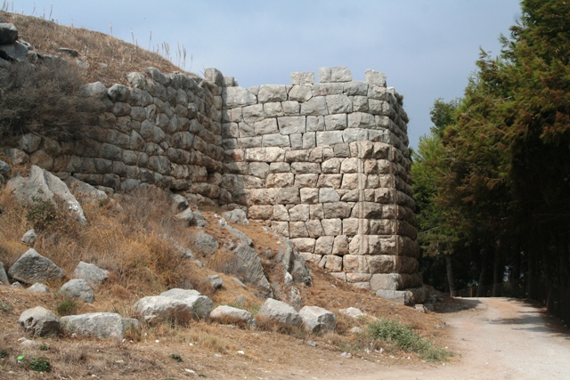 The Macedonian bastion and walls on the eastern side of Asine