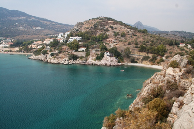 View of the mainland bay from the Acropolis of Asine