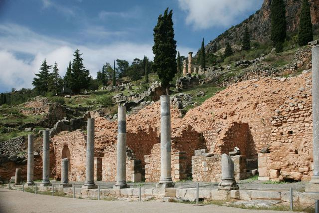 Delphi archaeological site - Stoa of the Roman agora