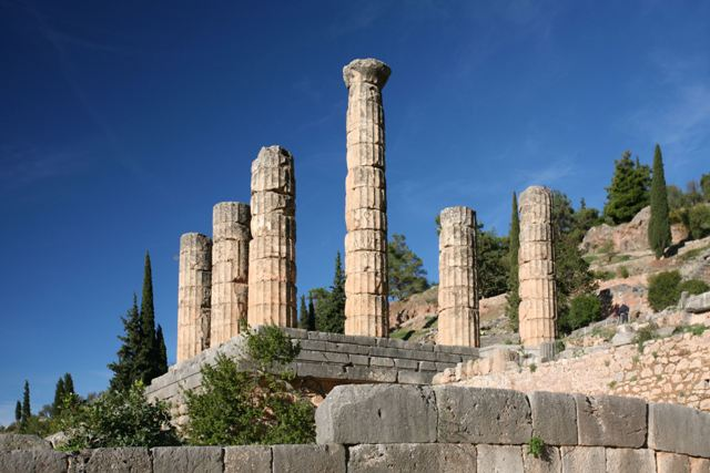 Delphi archaeological site - Great temple of Apollo