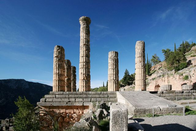 Delphi archaeological site - Doric columns of temple of Apollo