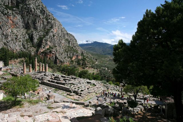 Delphi archaeological site - Temple of Apollo from above