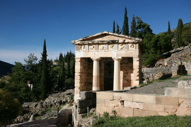 Delphi archaeological site - Athenian Treasury built in 508 BC