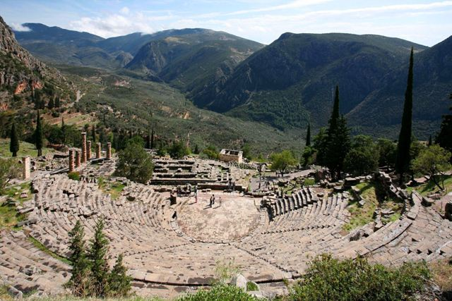Delphi archaeological site - Theatre overlooking the Delphic landscape