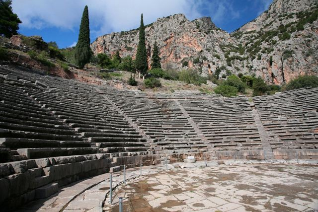 Delphi archaeological site - Theatre built of Parnassian limestone