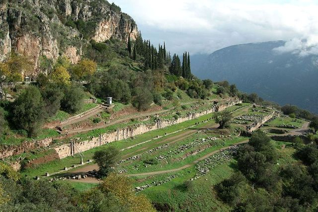 Delphi archaeological site - Looking down on the Gymnasium site