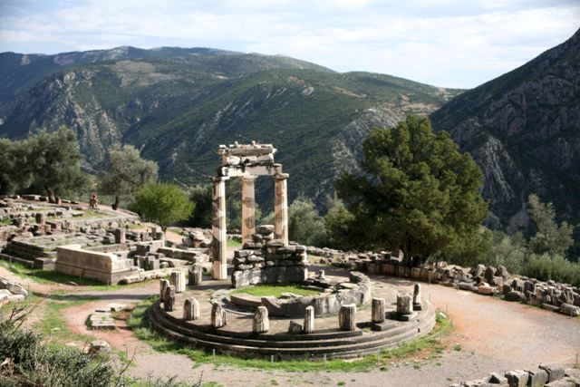 Delphi archaeological site - Tholos within the sanctuary of Athena Pronaia