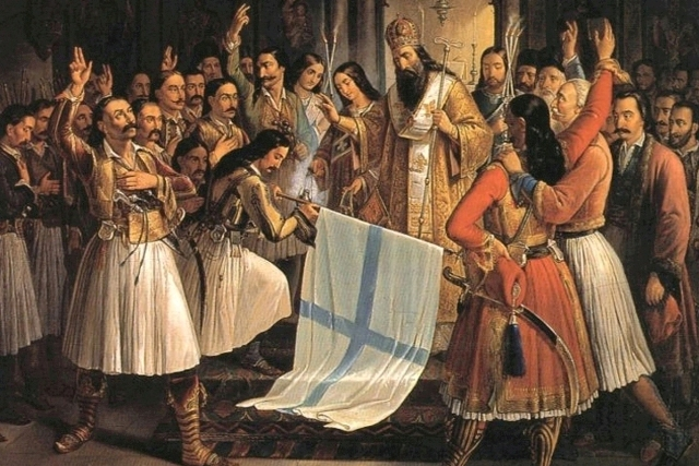 Bishop Germanos blesses the Hellenic battle standard - March 1821