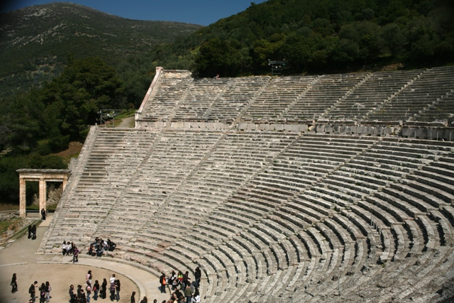 Epidavros - Side view of the two-tier theatre