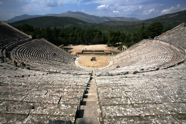 Epidavros - Looking towards the orchestra from the top seats