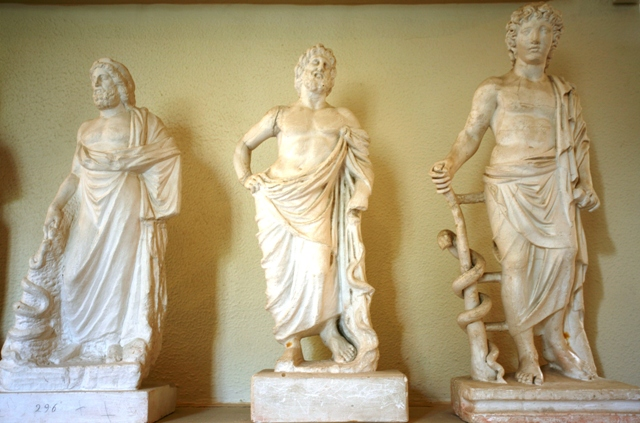 Various statues of Asclepios, the god of medicine