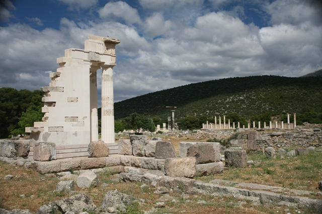 The temple of Asclepios with the sleeping wards in the distance