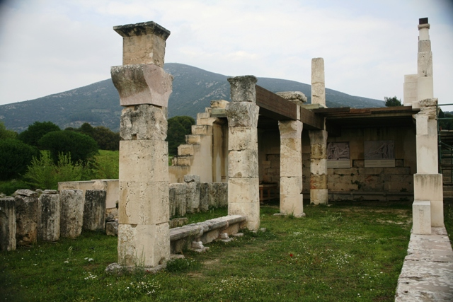 Epidavros - Lower level sleeping wards, with scale model of the building