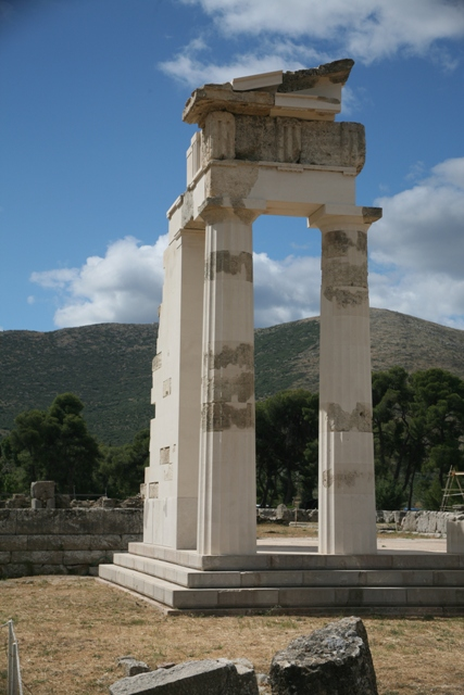 The reconstructed corner of the temple of Asclepios