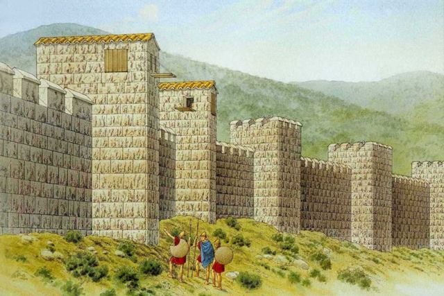 Isthmian wall - Artists impression of the ancient Greek wall