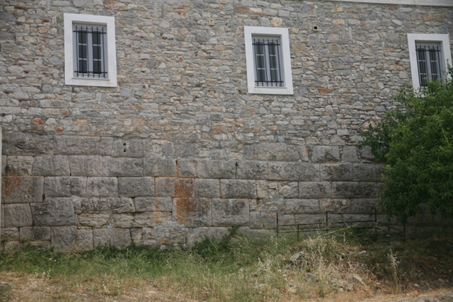 Library: Rear of the building, built on Hellenistic walls