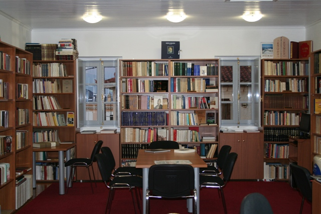 Village library interior where free Wi-Fi is available