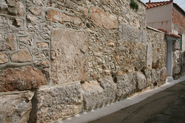 Hellenistic walls in the Old Village opposite Taxiarches church