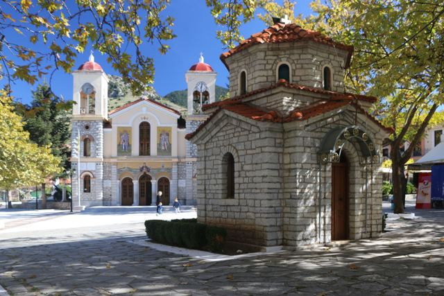 Kalavrita - Cathedral and chapel in the main square