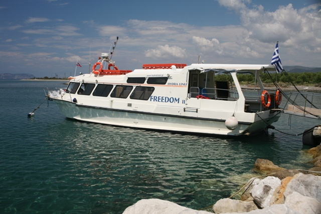 Hydra Lines 'Freedom II' boat ready to set off from Metohi